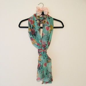 Mint Seafoam Green Sheer Floral Scarf